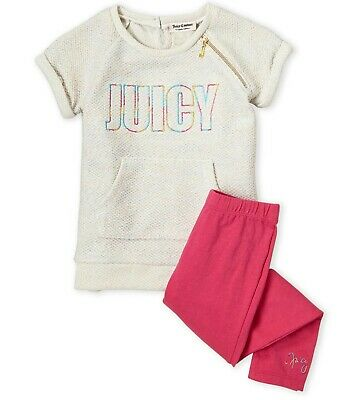 JUICY COUTURE girl oatmeal SS TUNIC & pink LEGGING SET 3Y glitter thread BNWT