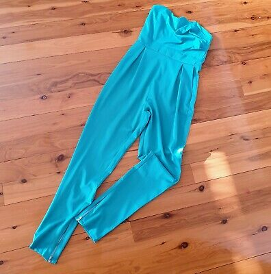 Women's size 8 'MINK' Stunning turquoise strapless jumpsuit - AS NEW