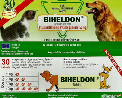"""Dog and Cat Puppy Wormer Worming 30 Tablets,best price,good deal ever """"Biheldon"""""""