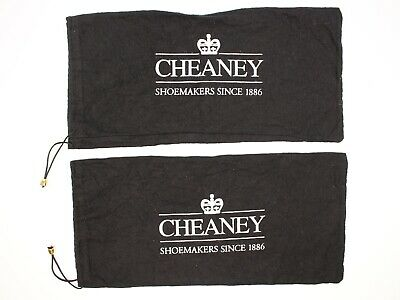 Joseph Cheaney Flannel Dust Bags Black Cotton Drawstring Shoe Protection Covers