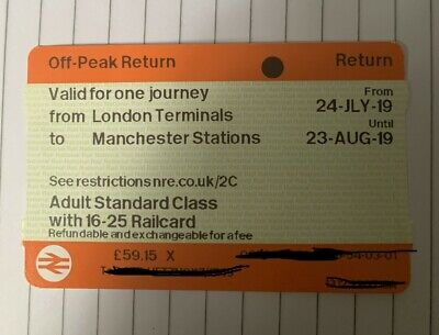 London to Manchester train ticket (16-25 railcard) off peak - valid until 23/08