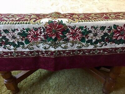 Large Christmas Damask Wine Red Green Poinsettia Tablecloth Fashion Industries