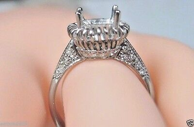 Antique Art Deco Vintage Mounting Setting Hold 8MM 18K White Gold Ring Size 6.75