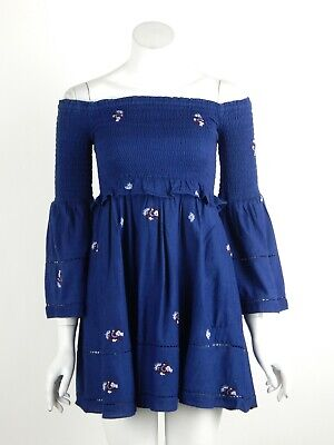 Free People Counting Daisies Mini Dress Embroidered Off-Shoulder Blue Size 4 New