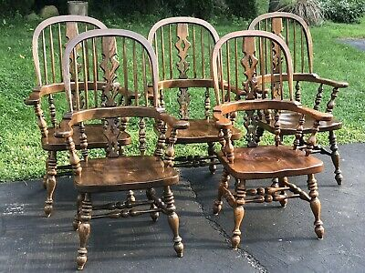 Set of 5 Ethan Allen Traditional Bowback Windsor Arm Dining / Side Chairs