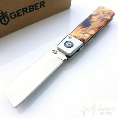 "Gerber JUKEBOX Barber Folding Knife 2.7"" Razor Blade Tortoise Shell Acrylic 1696"