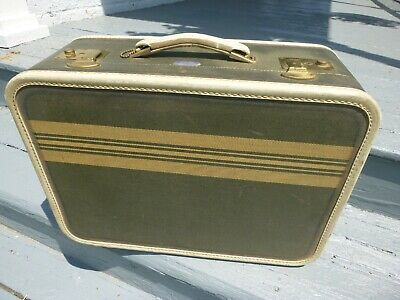 American Tourister Vintage Luggage - Green Pinstripe - Early