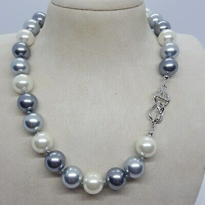 Vintage KJL Silver-Tone Jumbo Greys & Cream Pearls Necklace w/Fancy Clasp