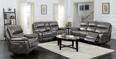 BRAND NEW AMK Luxury Grey Chocolate Fully Recliner Leather ...