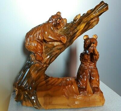 Unique USSR wood carving statue Wooden Bears,  size27x25 cm