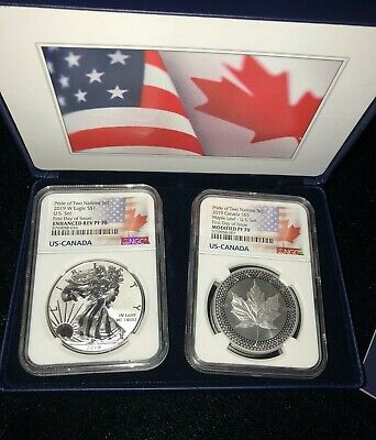 2019 Pride of Two Nations 2pc Set NGC PF70 Dual Flag Label  FIRST DAY OF ISSUE