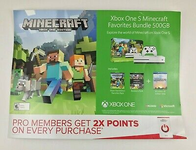 Minecraft Poster 18 x 24 Store Display Video Game Promo Xbox One S Edition Rare
