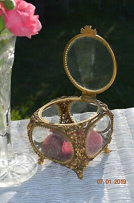 Beautiful Vintage Matson Ormolu Beveled Glass Box Jewelry Trinket Box