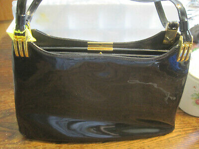 "VTG 1970'S NAVY BLUE FAUX Patent Leather Handbag W/ORIGINAL RECEIPT-11.5""X8""X2.5"