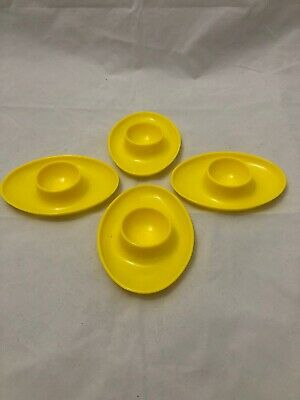 Set Of 4 Yellow Retro Egg Cups. Excellent Condition.