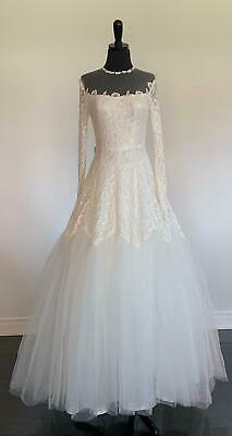 VINTAGE 1950 HAND Made Lace Wedding Dress Gown White Lined