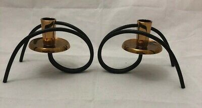 Pair of Vintage Turner Black Steel & Copper Candlesticks. Great Condition