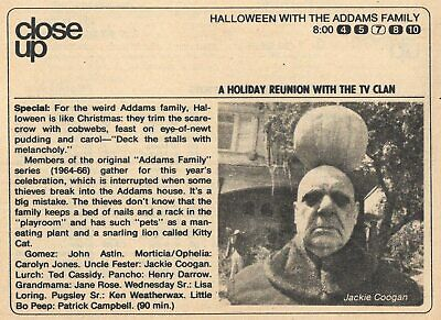 1977 TV AD~HALLOWEEN with the ADDAMS FAMILY UNCLE FESTER JACKIE COOGAN