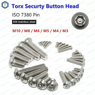 M3 M4 M5 M6 M8 Pin Tamper Torx Security Button Head Screws Bolts 304 Stainless