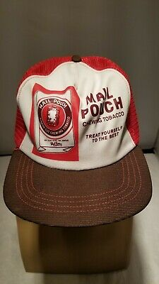 77ccb420a31 Vintage Mail Pouch Chewing Tobacco Snapback Red Mesh Hat Cap USA-Made  Trucker