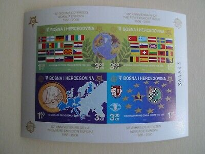 Bosnia 529 E Souv Sheets Perf And Imperf Cat $ 52.00 Europa Map Flags Coin