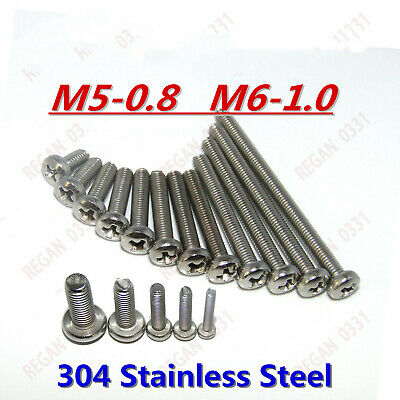 10/20/50/100pcs M2 M2.5 M3 M4 M5 304 Stainless Steel Cross Pan Head Screws Bolt