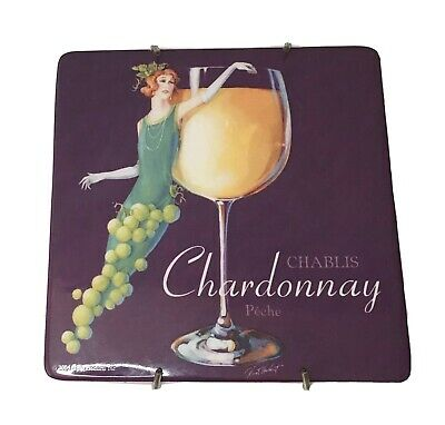 Woodland Fairy Nymph Ceramic Art Tile Trivet Chardonnay Chablis Wine Glass