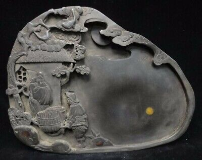 2.6kg Rare Heavy Old Fine Chinese Hand Carving Figures Ink Stone Ink Slab Mark