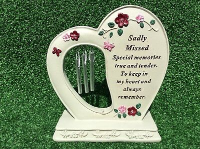 Sadly Missed Heart Harp Grave Memorial Ornament, Graveside Remembrance Gift