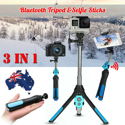 3in1 Camera Phone Handheld Unipod Monopod Selfie Stick Tripod bluetooth Shutter