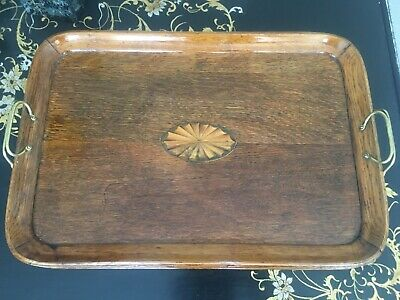 An Edwardian inlaid oak butlers tray with brass handles 47cm