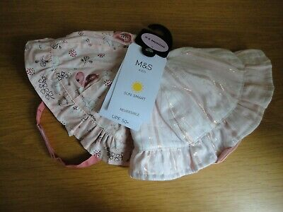 M&S Baby Girls 2 Pack Pink Sun Hats 0-3 Months BNWT FREEPOST
