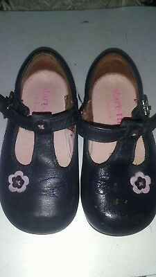 Start Rite Infant Girls Size 4 Shoes. Navy T Bar With Flower Design