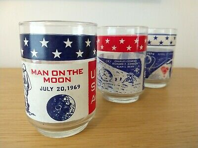 Original Apollo 11, 12, 13 Moon Landing Souvenir glass tumblers USA NASA