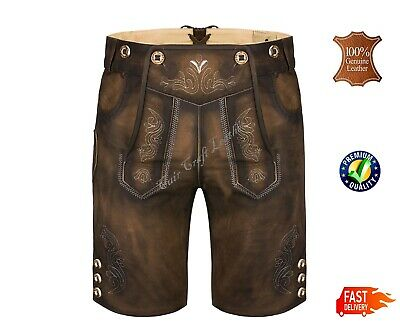 New Men's Antique Bavarian Short Length German Oktoberfest Leather Lederhosen