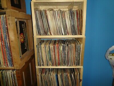 "100% wood 45rpm 7"" inch Record Vinyl LP Crate Storage Solid Wood Portects full"