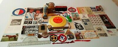 Vintage JUNK DRAWER LOT 50 + items: Tins, Ephemera, Playboy, Patches, Openers +