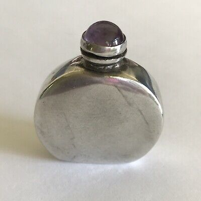Sterling Silver Perfume Bottle Mexico Amethyst Topper Dauber (66) 11.1 Gr