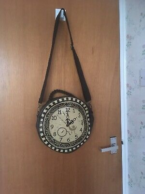 banned apparel Steampunk Bag Brown And Cream Antique Style Clockface