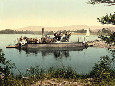 Windermere steam ferry Lake District Edwardian England canvas Print early 1900s