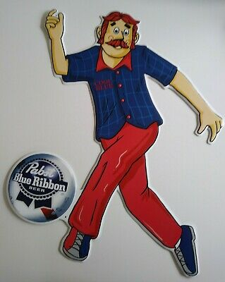 "Rare Pabst Blue Ribbon Cool Blue Bowling Beer tin Sign 18"" x 24"" PBR"