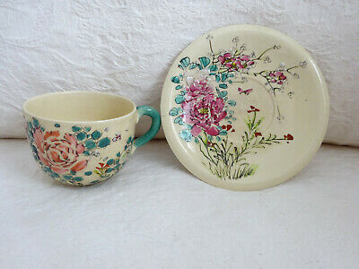 Vintage cup and saucer coffee Floral hand painted