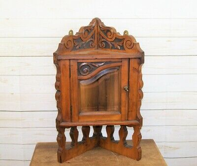 Antique Edwardian Satinwood Small Corner Wall Hanging Display Cabinet Cupboard