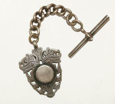 Antique Victorian English Sterling Silver Watch Fob & T-Bar Pendant Charm c1899