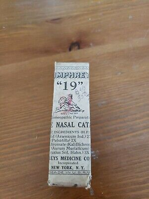 "Antique Humphrey's Homeopathic Med.# 19 "" NASAL CATARRH"" Mint In Box NOS"
