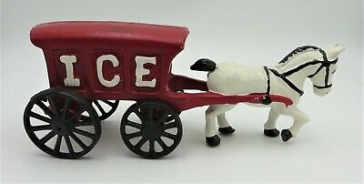 """Vintage Cast Iron Horse Drawn ICE Wagon Carriage 10.5"""" Long"""