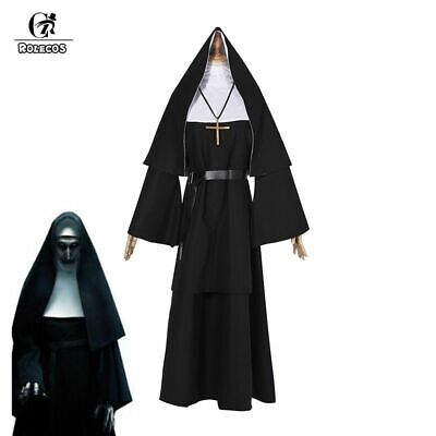 The Nun Cosplay Costume Halloween Women The Conjuring 2 Long Dress Adult Horror