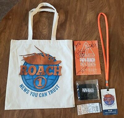 "Papa Roach VIP ""Who Do You Trust"" tour Signed pamphlet, lanyard, tote, wristband"