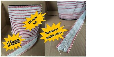 POLY TAPE RED & WHITE 40mm 200 METRE ROLL - 12x0.2mm SS wire ELECTRIC FENCE