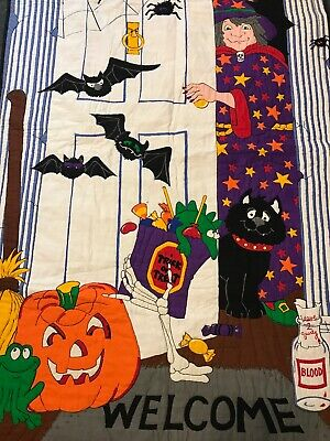 Happy Halloween Door Decor Lap Blanket Wall Hanging witch Bats Pumpkin Welcome